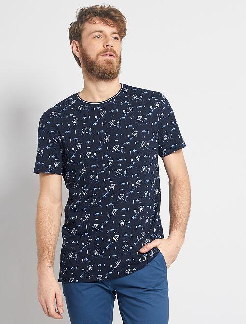 T-shirt imprimé nature                                         bleu marine