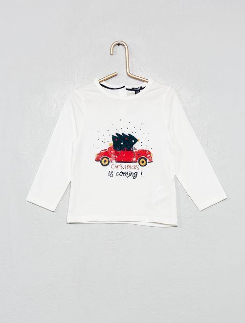 T-shirt imprimé 'Noël'                             blanc
