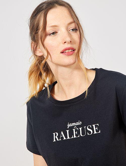 T-shirt imprimé                                                                                                                                                                                                                                                     noir message