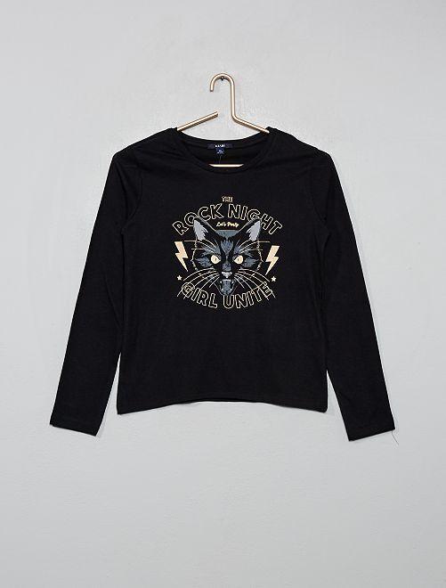 T-shirt imprimé                                                                 noir/chat