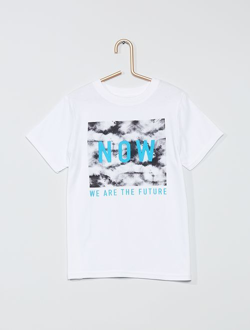 T-shirt imprimé 'now' 'éco-conception'                                                                                                                                                     blanc
