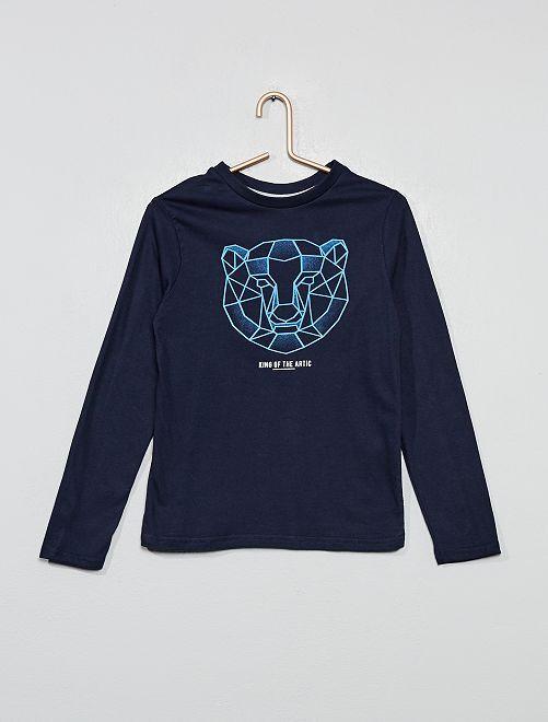 T-shirt imprimé ours 'éco-conception'                                                                                                     bleu marine
