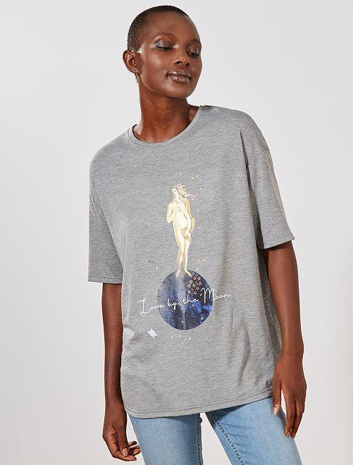 T-shirt imprimé oversize                                         gris