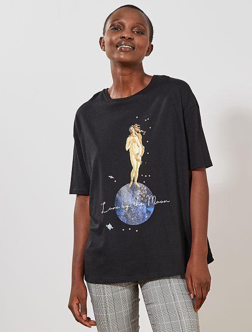 T-shirt imprimé oversize                                                     noir Femme