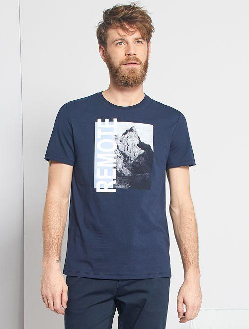 T-shirt imprimé paysage                                         bleu marine