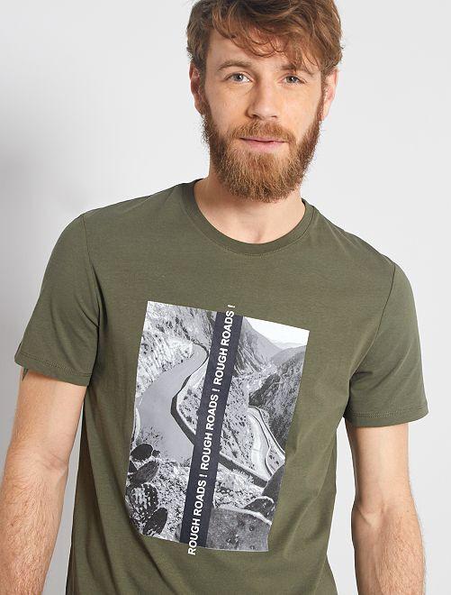 T-shirt imprimé paysage                                                                 kaki