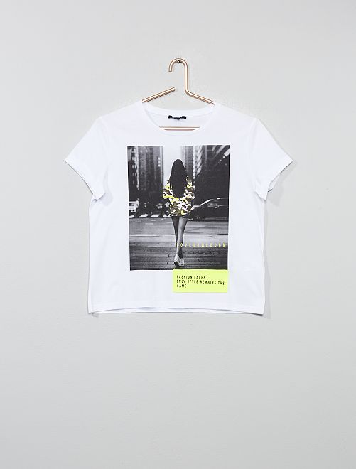 T-shirt imprimé photo détails fluos                             blanc/jaune fluo Fille adolescente