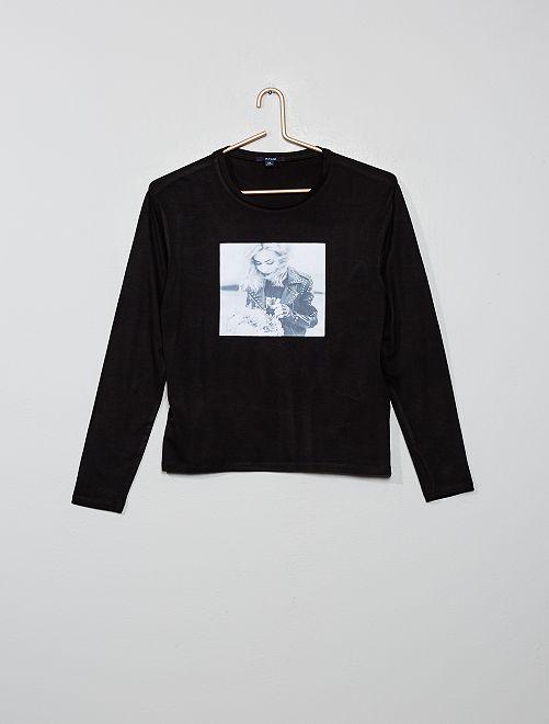 T-shirt imprimé photo                             noir