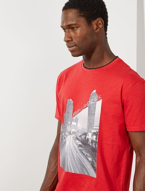 T-shirt imprimé photo                                                                 rouge