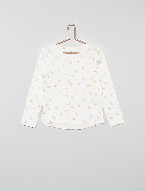 T-shirt imprimé 'plumes' 'éco-conception'                                                                                                     écru plumes