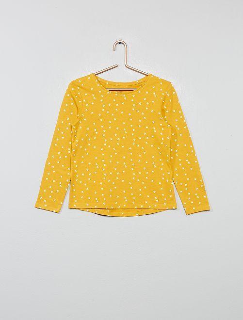 T-shirt imprimé pois 'éco-conception'                                                                                                     jaune pois