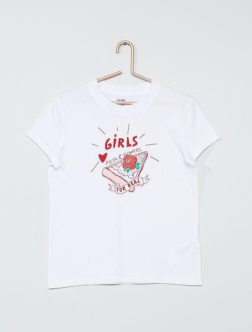 T-shirt imprimé 'Positive Mood'                                                                                                                                                     blanc/pizza