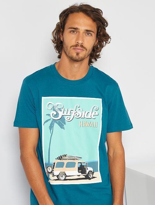 T-shirt imprimé 'Produkt' 'éco-conçu'                                         bleu canard