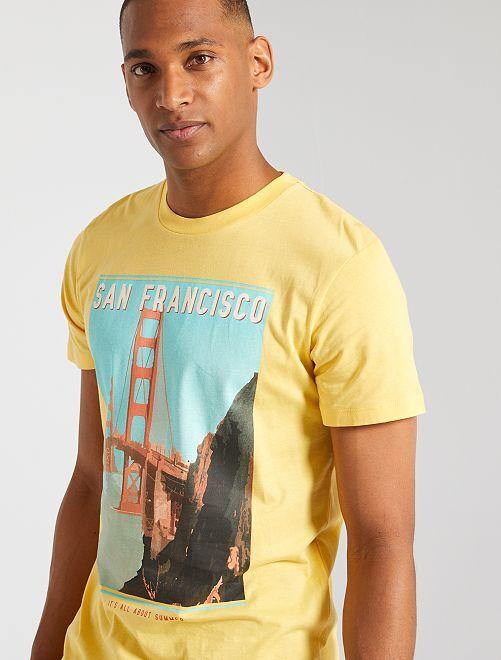 T-shirt imprimé 'Produkt' 'éco-conçu'                                                     jaune