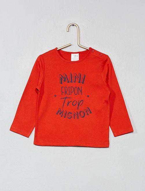 T-shirt imprimé pur coton                                                                                                     rouge Bébé garçon