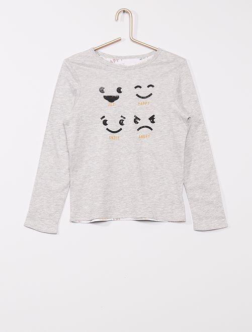 T-shirt imprimé réversible                                         GRIS