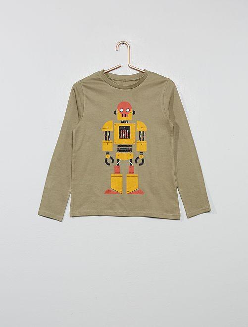 T-shirt imprimé 'robot' coton bio                                                                                                                                         kaki robot Garçon