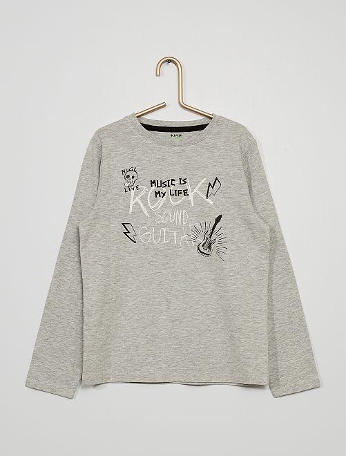 T-shirt imprimé 'rock'                                                                                                                                                                                                                             gris