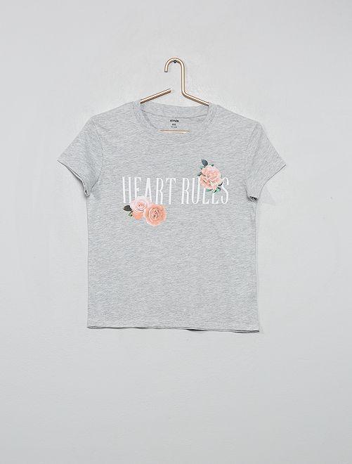 T-shirt imprimé 'roses'                                                                                         gris chiné