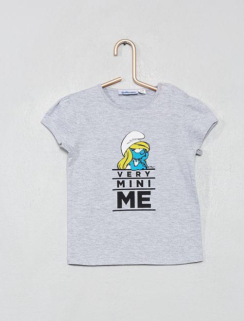 T-shirt imprimé 'Schtroumpfette'                             gris chiné