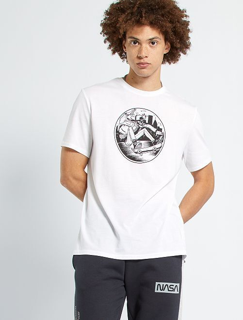 T-shirt imprimé 'skate'                                                                                                                                         blanc