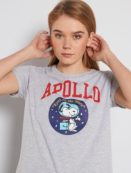 T-shirt imprimé 'Snoopy'                             gris chiné