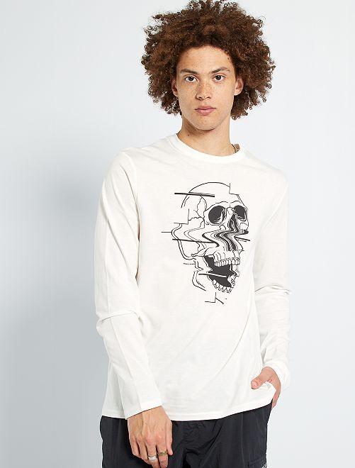 T-shirt imprimé 'squelette'                                                                                                                                                                                                                             blanc