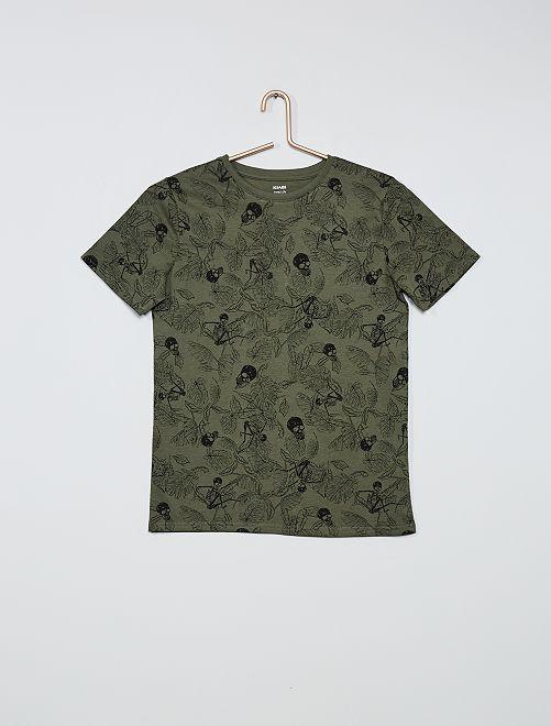 T-shirt imprimé 'squelettes'                                                                 kaki