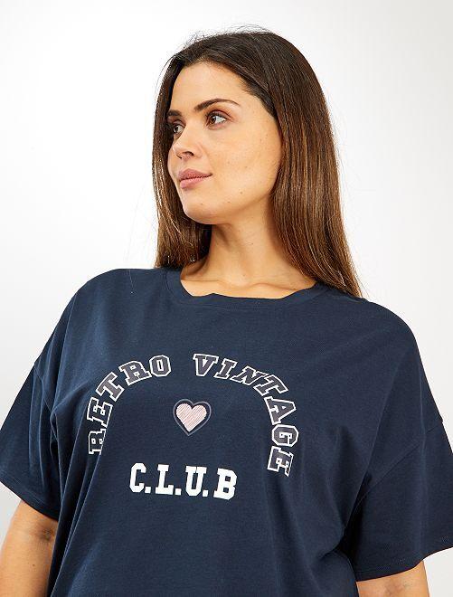 T-shirt imprimé style université                                                                 bleu marine