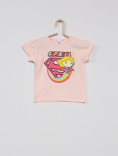 T-shirt imprimé 'Supergirl'                             rose
