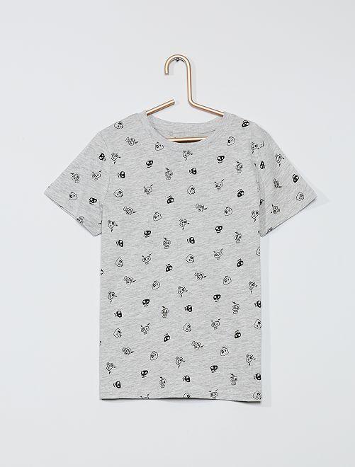 T-shirt imprimé 'tête de mort' 'éco-conception'                                                                                                                             gris