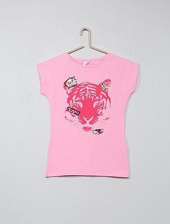 T-shirt imprimé 'tigre' et sequins - Kiabi
