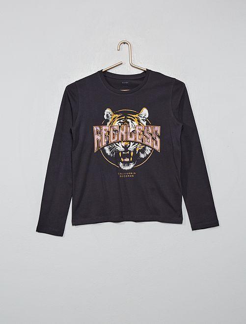 T-shirt imprimé 'tigre'                                         gris