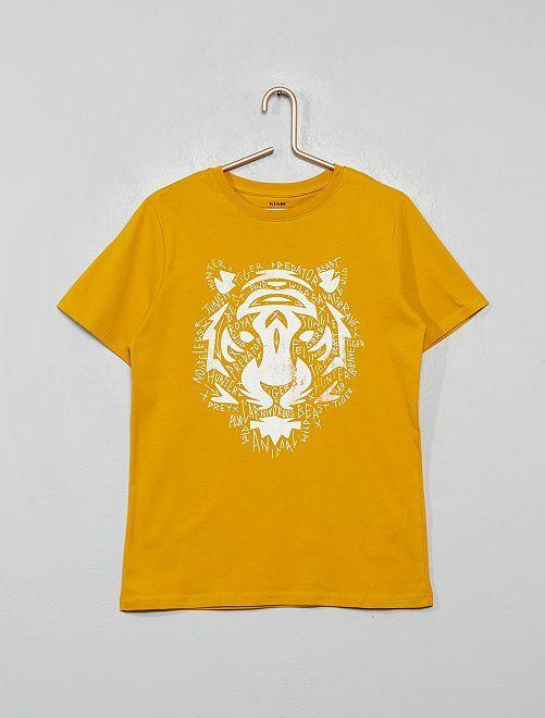 T-shirt imprimé 'tigre'                                                                                                                                                                 jaune moutarde