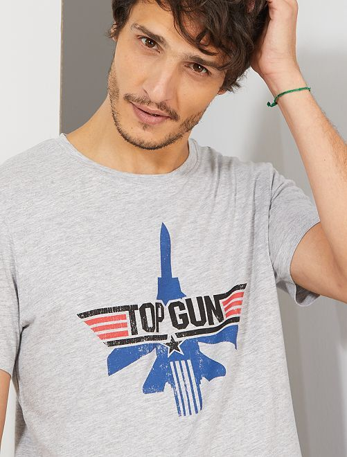T-shirt imprimé 'Top Gun'                             gris clair chiné