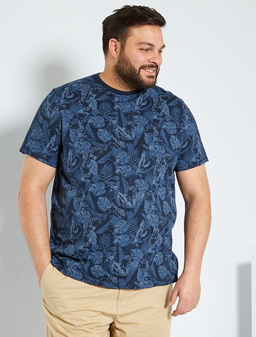 T-shirt imprimé tropical                                         bleu
