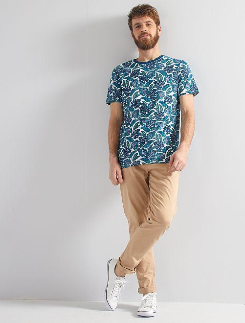 T-shirt imprimé tropical                                                                 bleu/vert/blanc