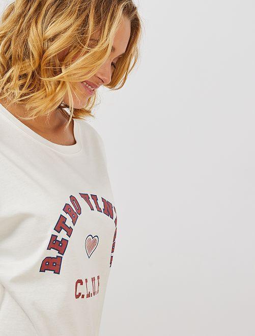 T-shirt imprimé 'University'                                         blanc cassé