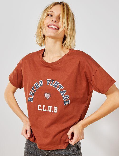 T-shirt imprimé 'University'                                         marron