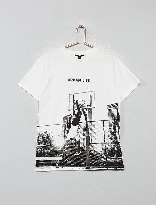 T-shirt imprimé urbain                                         écru