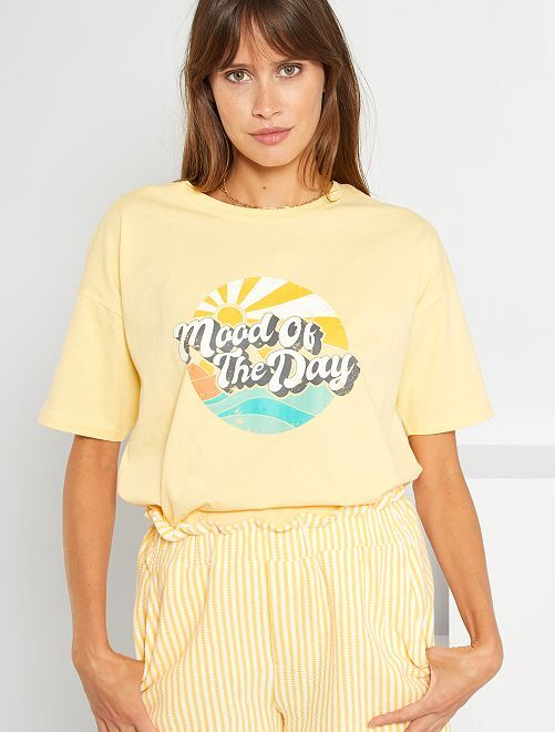 T-shirt imprimé vintage                                         jaune