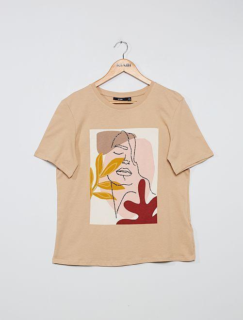 T-shirt imprimé 'visage'                                                                             beige