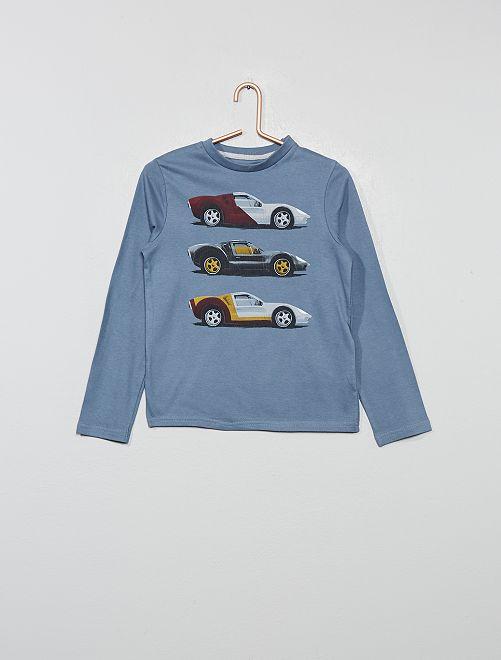 T-shirt imprimé 'voiture' en coton bio                                                                                                                                         bleu gris voiture Garçon