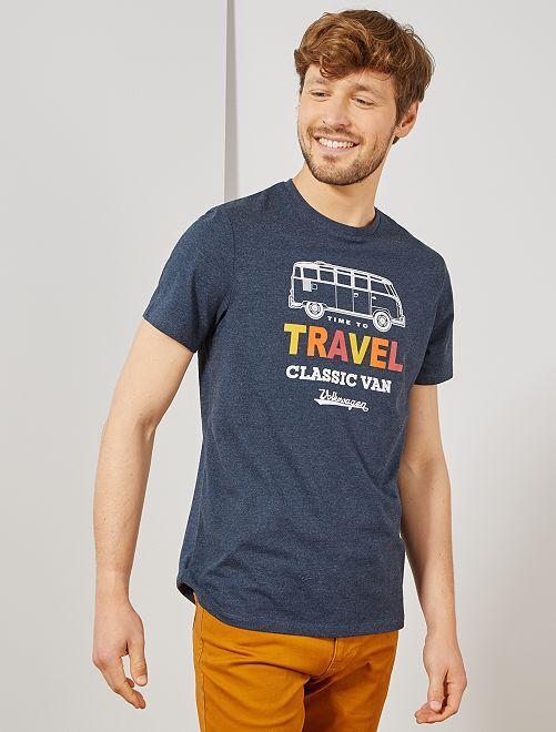 T-shirt imprimé 'Volkswagen'                             bleu pétrole chiné
