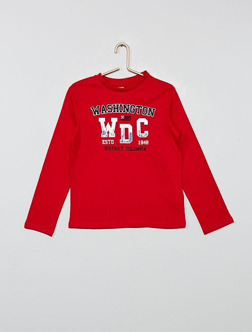 T-shirt imprimé Washington 'éco-conception'                                                                                                     rouge/texte