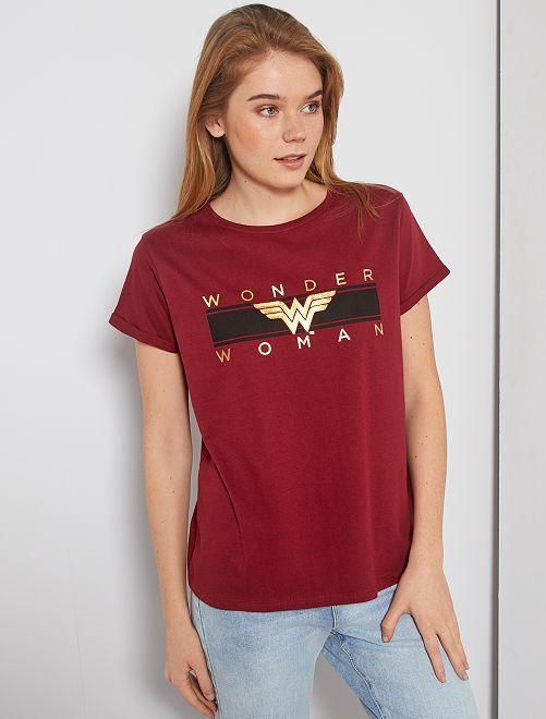 T-shirt imprimé 'Wonder Woman'                             bordeaux