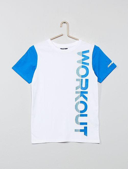 T-shirt imprimé 'Workout'                                 blanc/bleu Garçon adolescent