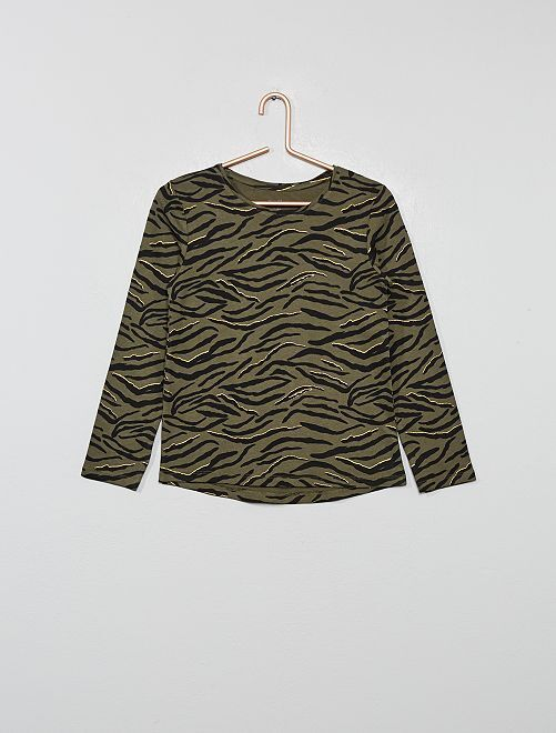T-shirt imprimé 'zèbre' 'éco-conception'                                                                                                     kaki zèbre
