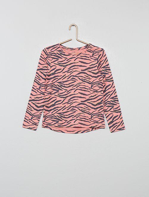 T-shirt imprimé 'zèbre' 'éco-conception'                                                                                         rose zèbre