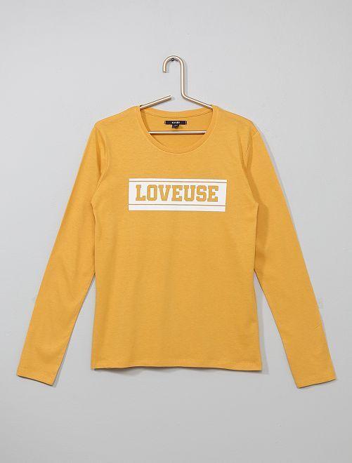 T-shirt imprimée en pur coton                                                     jaune